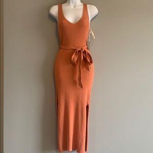 NWT - Forever 21 : Salmon Ribbed Midi Dress Small